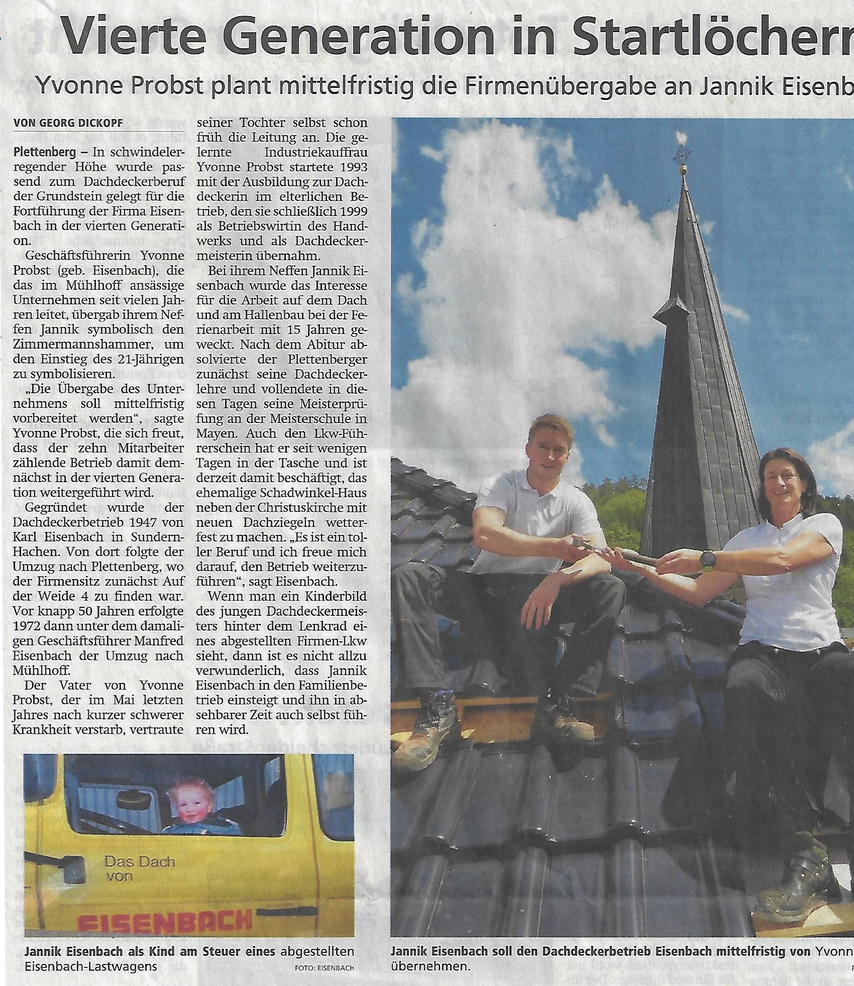 Vierte Generation in den Startlöchern - Zeitungsbericht